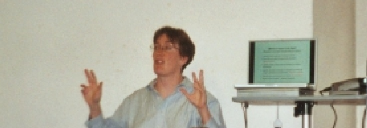 JB lecturing (on conflict resolution in Vienna           2002)
